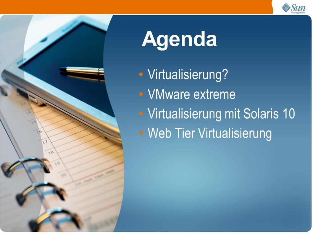 Agenda Virtualisierung VMware extreme Virtualisierung mit Solaris 10 Web Tier Virtualisierung