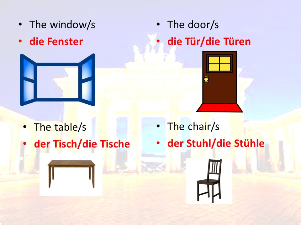 Translate – Übersetzen Sie 1.The window is in the loft 2.The wardrobe is in the bedroom 3.The fridge is in the kitchen 4.The TV is in the living room 5.The toilet is in the bathroom 6.The computer is in the office 7.The toys are in the playroom 8.The chairs are in the dining room