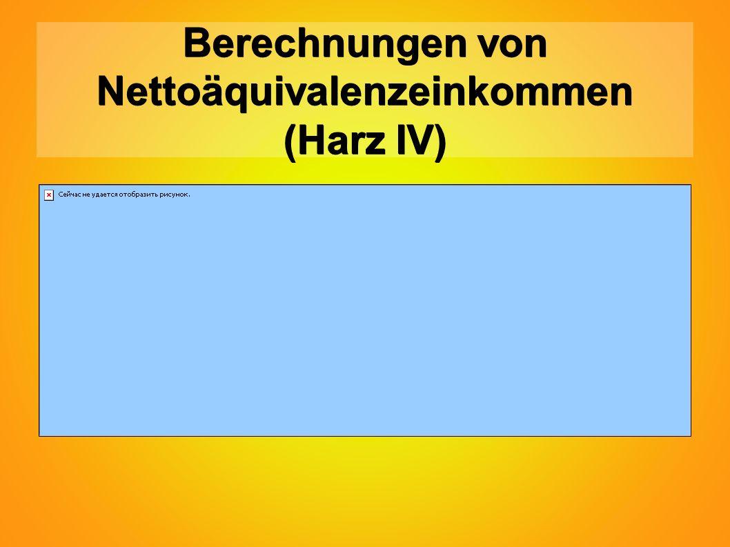 Berechnungen von Nettoäquivalenzeinkommen (Harz IV)