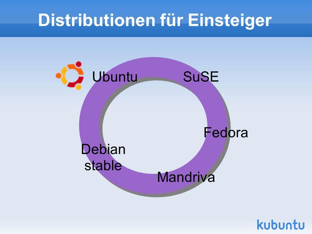 Distributionen für Einsteiger SuSE Fedora Mandriva Debian stable Ubuntu