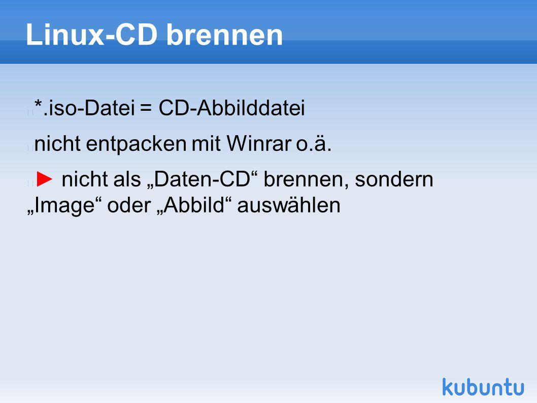"""Linux-CD brennen *.iso-Datei = CD-Abbilddatei nicht entpacken mit Winrar o.ä. ► nicht als """"Daten-CD"""" brennen, sondern """"Image"""" oder """"Abbild"""" auswählen"""