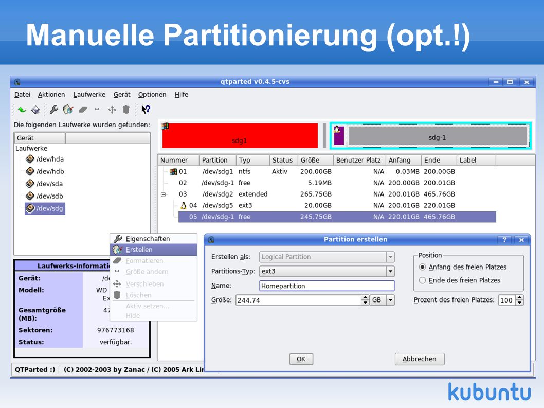 Manuelle Partitionierung (opt.!)