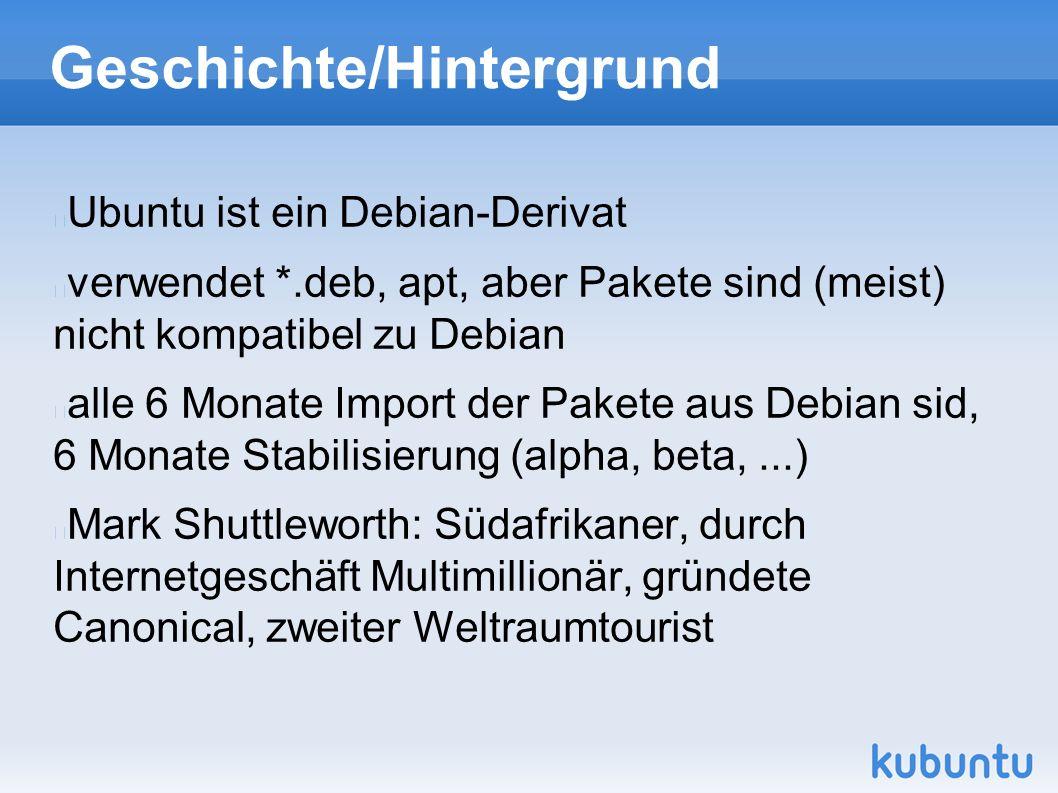 Geschichte/Hintergrund Ubuntu ist ein Debian-Derivat verwendet *.deb, apt, aber Pakete sind (meist) nicht kompatibel zu Debian alle 6 Monate Import der Pakete aus Debian sid, 6 Monate Stabilisierung (alpha, beta,...) Mark Shuttleworth: Südafrikaner, durch Internetgeschäft Multimillionär, gründete Canonical, zweiter Weltraumtourist