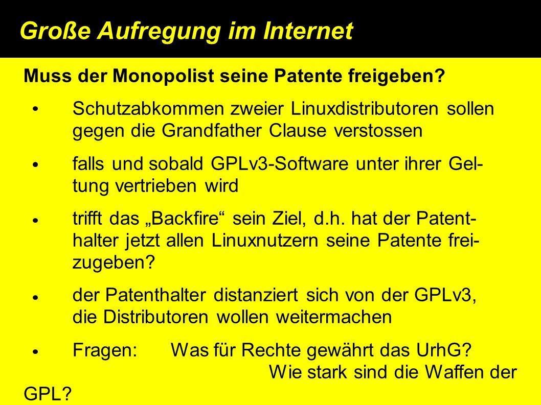 Große Aufregung im Internet Muss der Monopolist seine Patente freigeben.