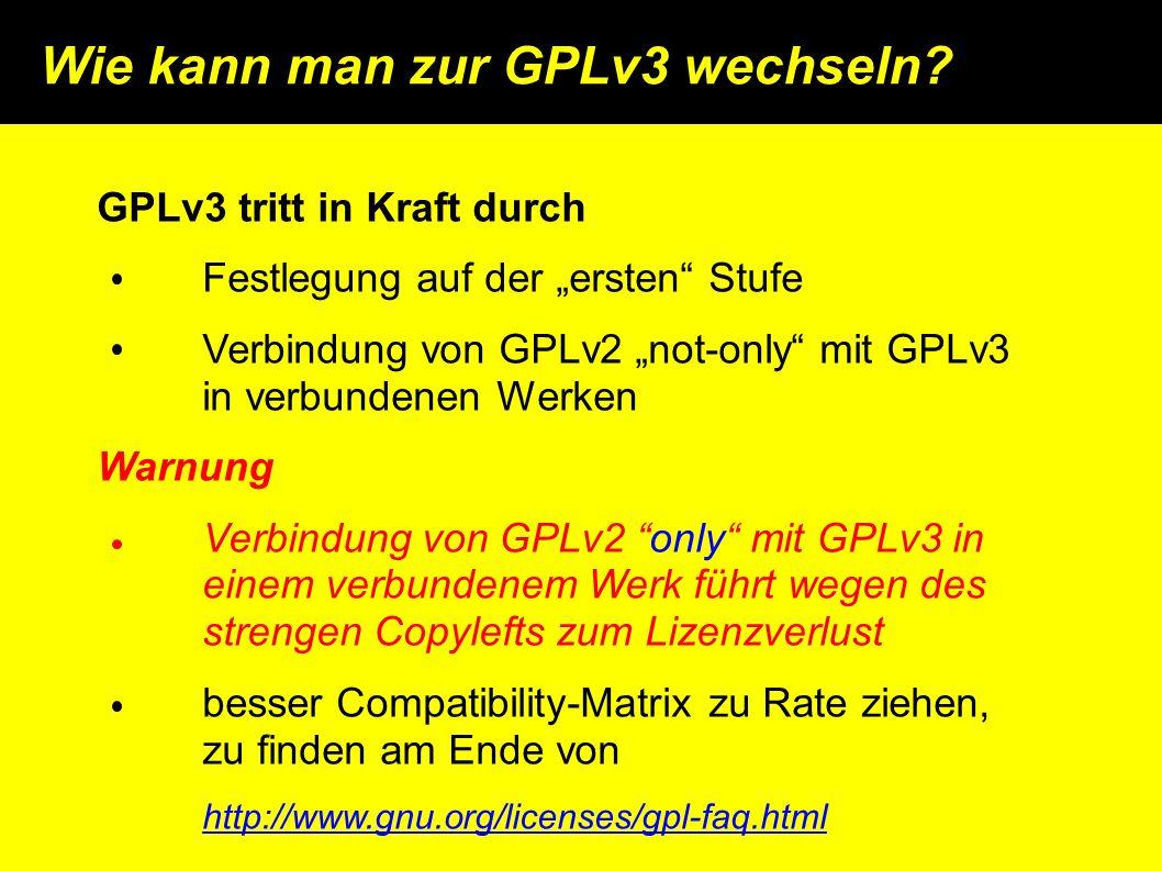 Wie kann man zur GPLv3 wechseln.