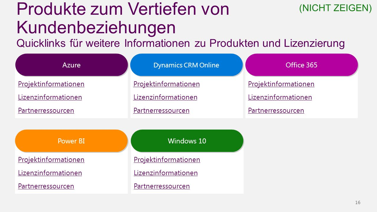 Produkte zum Vertiefen von Kundenbeziehungen Quicklinks für weitere Informationen zu Produkten und Lizenzierung 16 Projektinformationen Lizenzinformationen Partnerressourcen Office 365 Projektinformationen Lizenzinformationen Partnerressourcen Windows 10 Projektinformationen Lizenzinformationen Partnerressourcen Power BI Projektinformationen Lizenzinformationen Partnerressourcen Dynamics CRM Online Projektinformationen Lizenzinformationen Partnerressourcen Azure