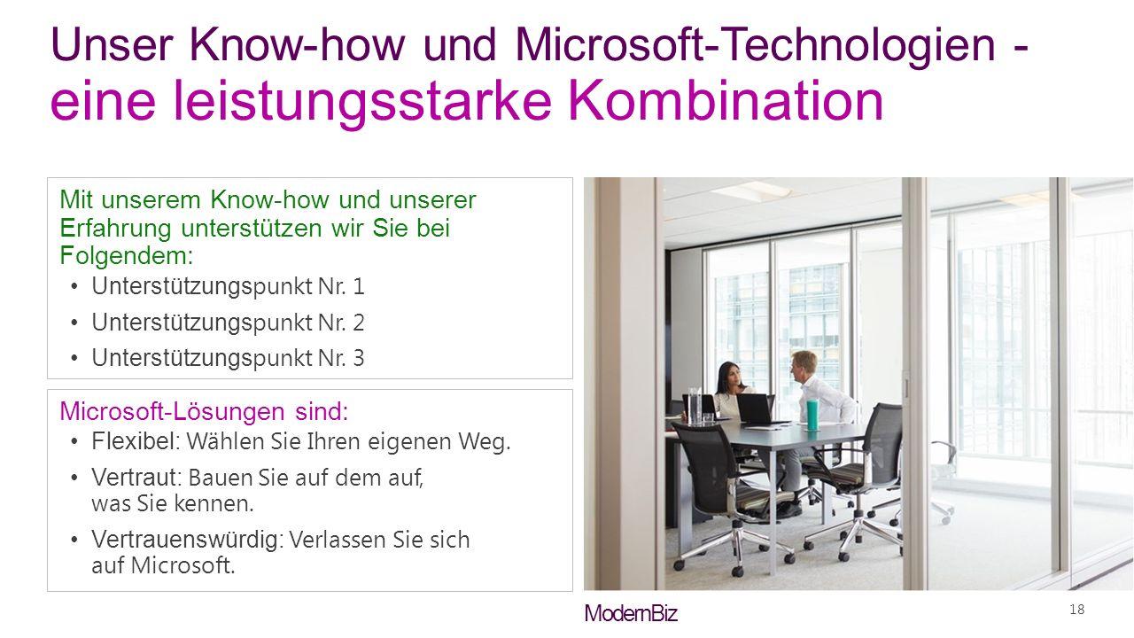 ModernBiz Unser Know-how und Microsoft-Technologien - eine leistungsstarke Kombination Mit unserem Know-how und unserer Erfahrung unterstützen wir Sie bei Folgendem: Unterstützungs punkt Nr.