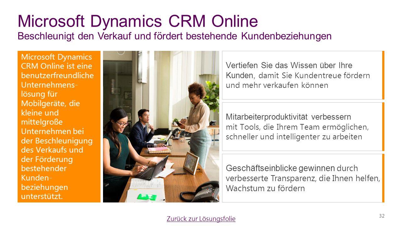 Microsoft Dynamics CRM Online Beschleunigt den Verkauf und fördert bestehende Kundenbeziehungen Microsoft Dynamics CRM Online ist eine benutzerfreundliche Unternehmens- lösung für Mobilgeräte, die kleine und mittelgroße Unternehmen bei der Beschleunigung des Verkaufs und der Förderung bestehender Kunden- beziehungen unterstützt.