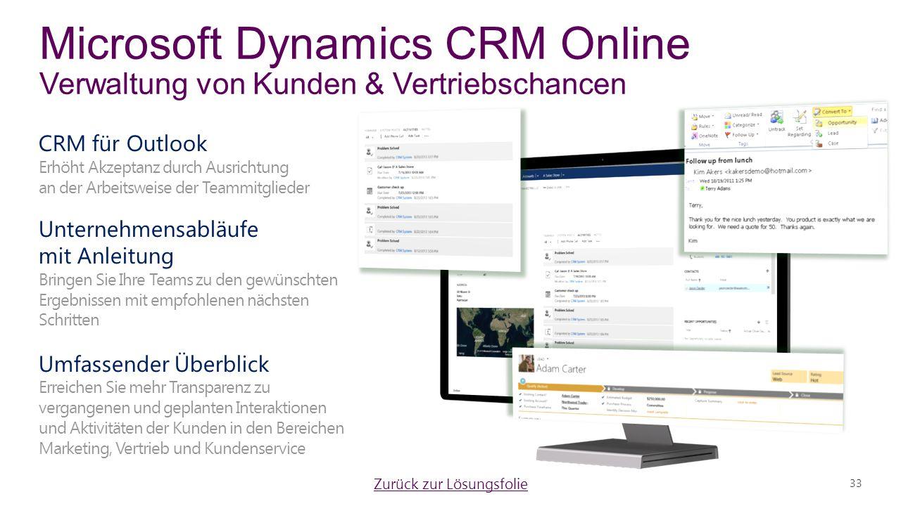 Microsoft Dynamics CRM Online Verwaltung von Kunden & Vertriebschancen 33 Zurück zur Lösungsfolie