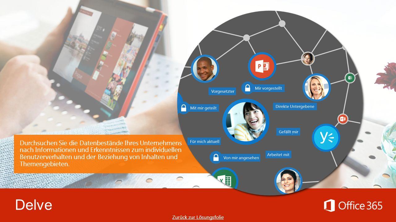 Delve Durchsuchen Sie die Datenbestände Ihres Unternehmens nach Informationen und Erkenntnissen zum individuellen Benutzerverhalten und der Beziehung von Inhalten und Themengebieten.