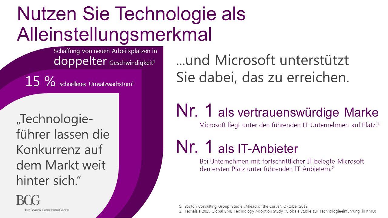 Nutzen Sie Technologie als Alleinstellungsmerkmal Schaffung von neuen Arbeitsplätzen in doppelter Geschwindigkeit 1 15 % schnelleres Umsatzwachstum 1...und Microsoft unterstützt Sie dabei, das zu erreichen.