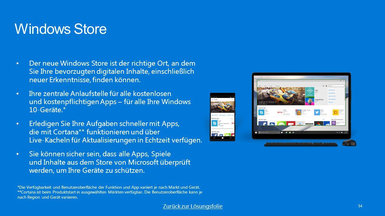 Windows Store 54 Der neue Windows Store ist der richtige Ort, an dem Sie Ihre bevorzugten digitalen Inhalte, einschließlich neuer Erkenntnisse, finden können.