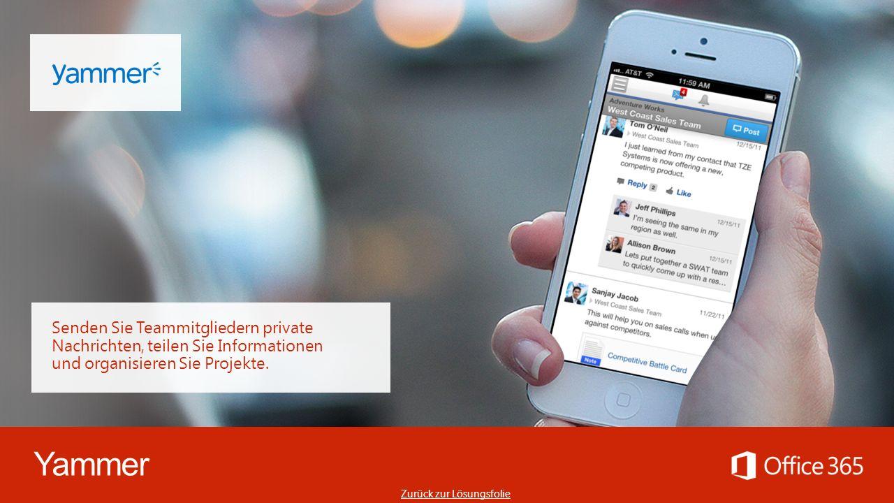 Yammer Senden Sie Teammitgliedern private Nachrichten, teilen Sie Informationen und organisieren Sie Projekte.