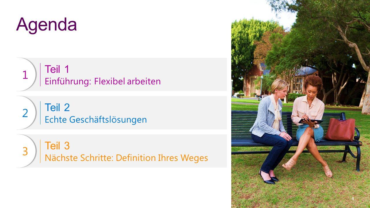 Agenda Teil 1 Einführung: Flexibel arbeiten Teil 2 Echte Geschäftslösungen Teil 3 Nächste Schritte: Definition Ihres Weges 11 22 33 4