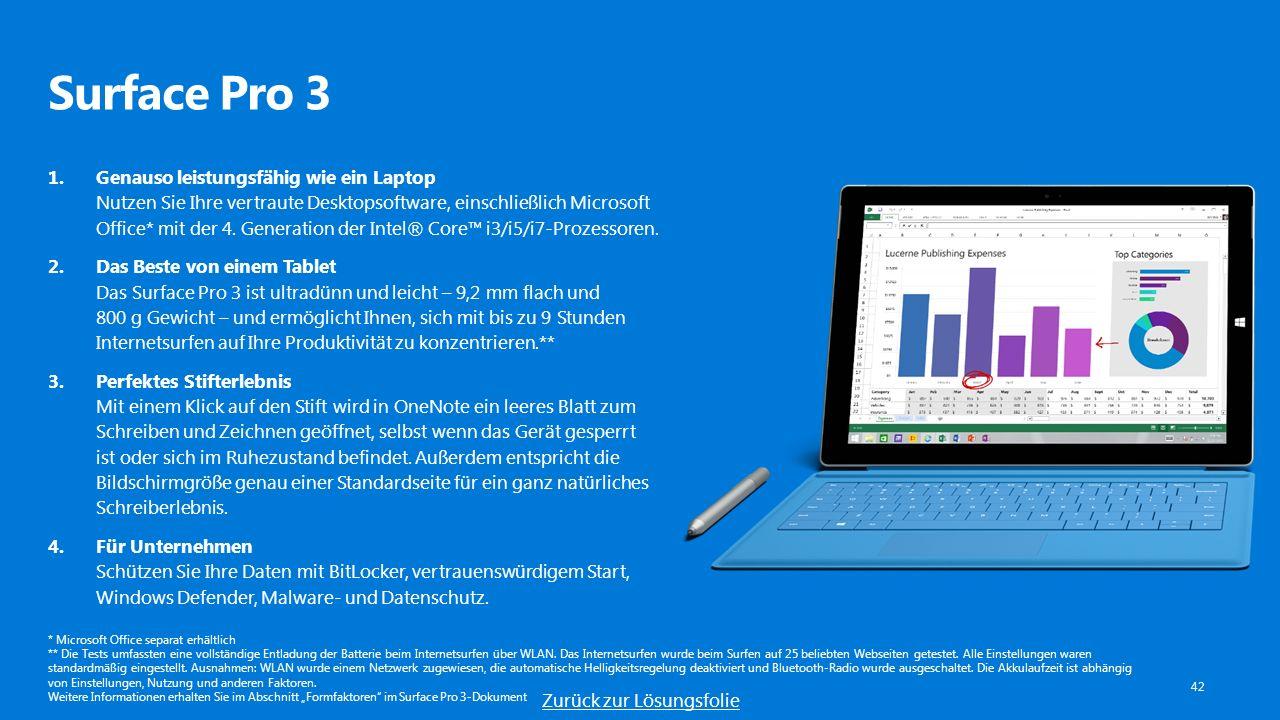 Surface Pro 3 42 1.Genauso leistungsfähig wie ein Laptop Nutzen Sie Ihre vertraute Desktopsoftware, einschließlich Microsoft Office* mit der 4.