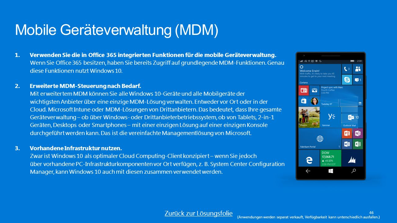 Mobile Geräteverwaltung (MDM) 46 1.Verwenden Sie die in Office 365 integrierten Funktionen für die mobile Geräteverwaltung.