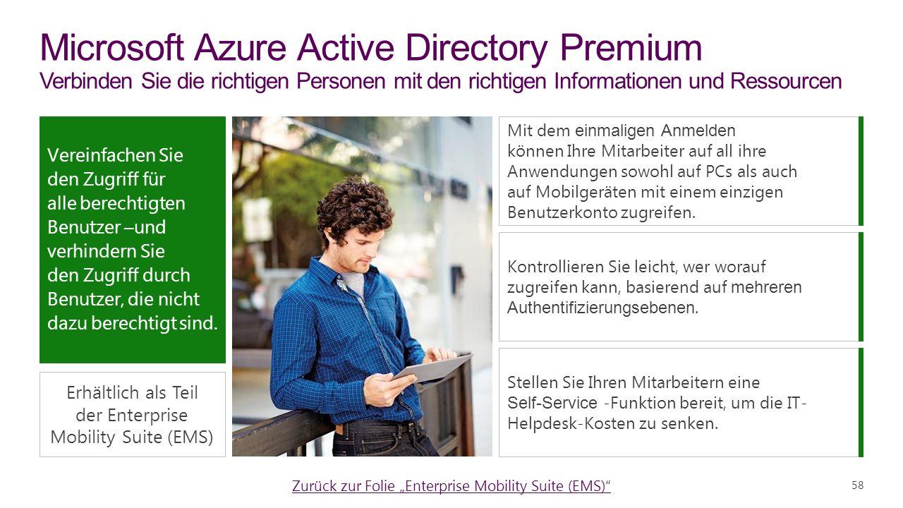 Microsoft Azure Active Directory Premium Verbinden Sie die richtigen Personen mit den richtigen Informationen und Ressourcen Mit dem einmaligen Anmelden können Ihre Mitarbeiter auf all ihre Anwendungen sowohl auf PCs als auch auf Mobilgeräten mit einem einzigen Benutzerkonto zugreifen.