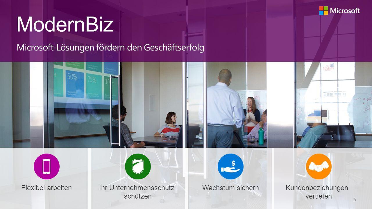 ModernBiz Microsoft-Lösungen fördern den Geschäftserfolg Kundenbeziehungen vertiefen Wachstum sichernIhr Unternehmensschutz schützen Flexibel arbeiten 6