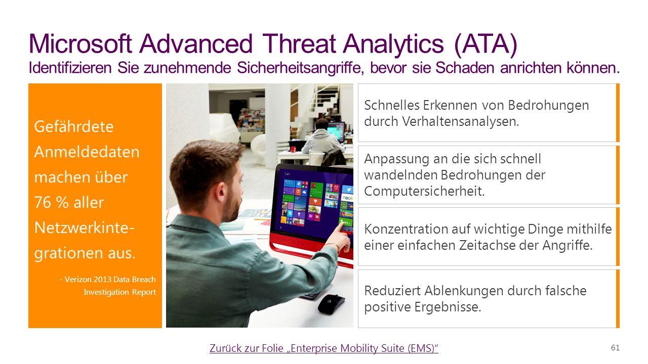 61 Microsoft Advanced Threat Analytics (ATA) Identifizieren Sie zunehmende Sicherheitsangriffe, bevor sie Schaden anrichten können.