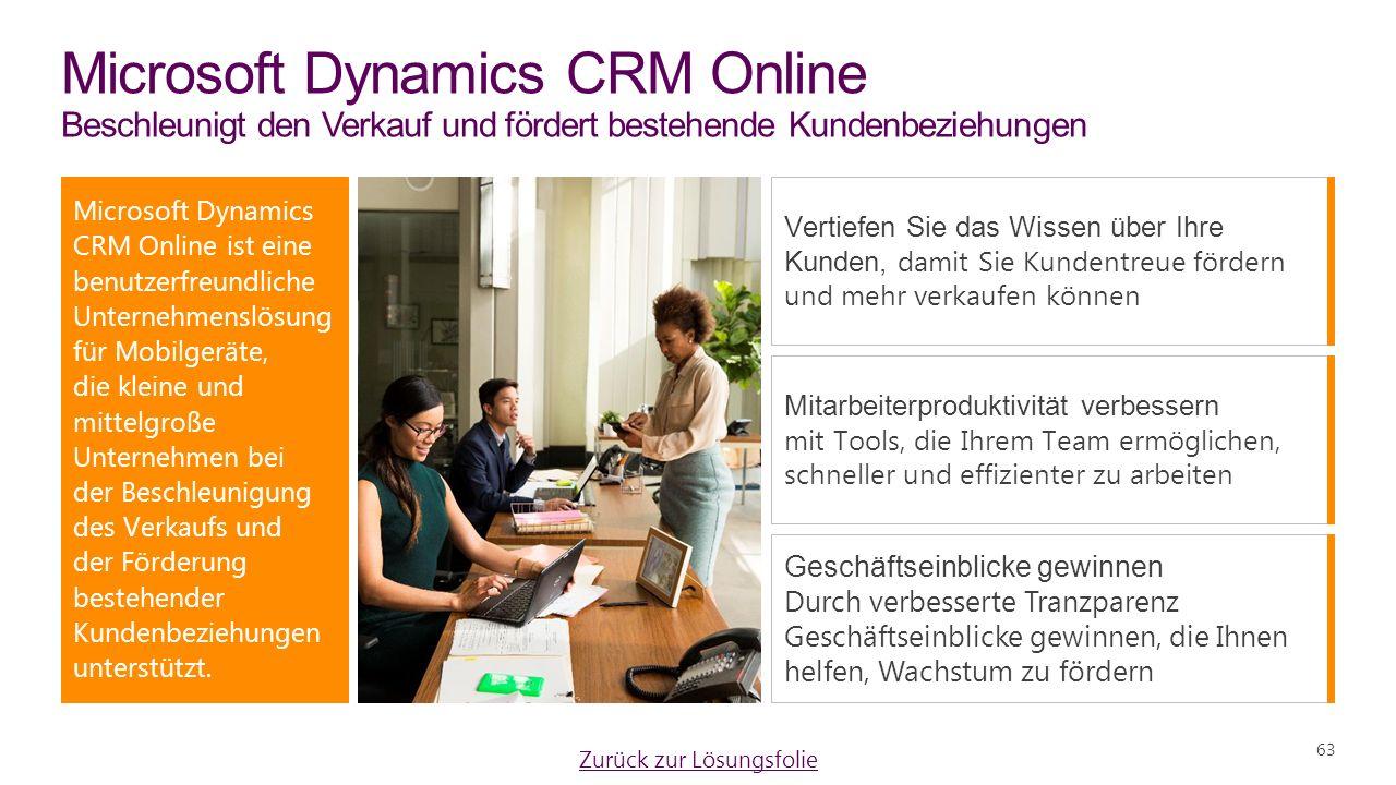 Microsoft Dynamics CRM Online Beschleunigt den Verkauf und fördert bestehende Kundenbeziehungen Microsoft Dynamics CRM Online ist eine benutzerfreundliche Unternehmenslösung für Mobilgeräte, die kleine und mittelgroße Unternehmen bei der Beschleunigung des Verkaufs und der Förderung bestehender Kundenbeziehungen unterstützt.