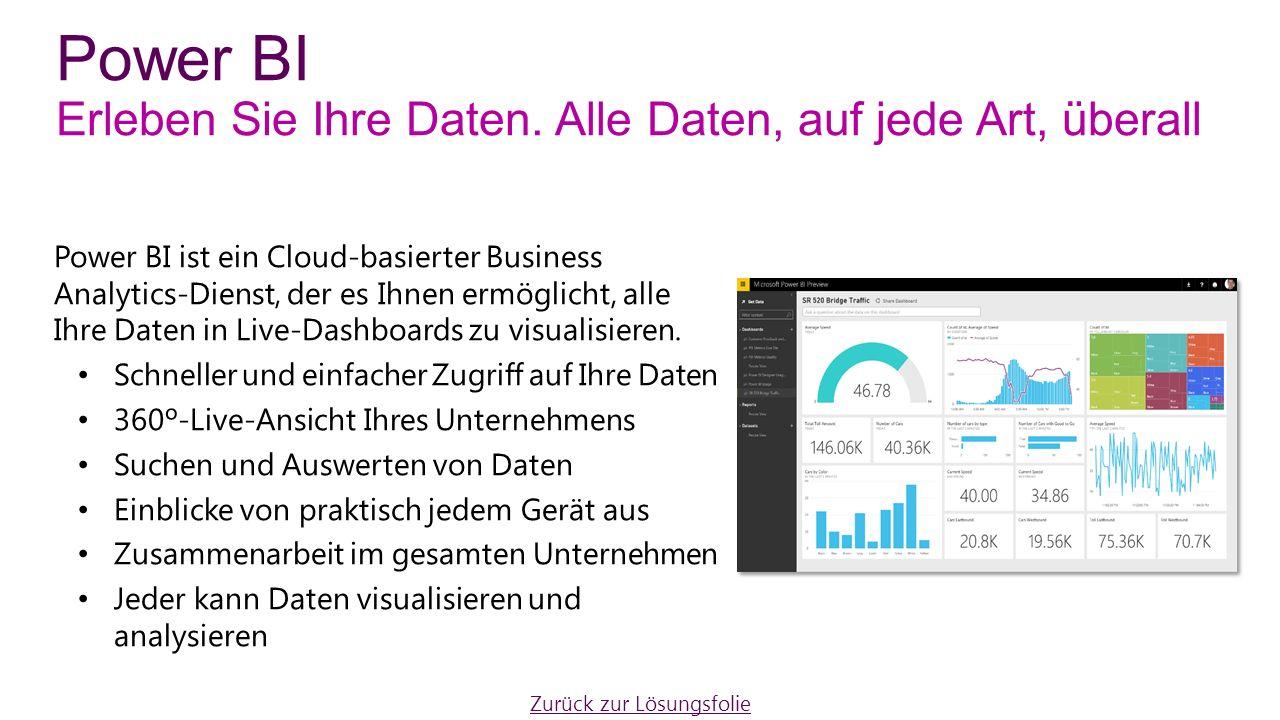 Power BI ist ein Cloud-basierter Business Analytics-Dienst, der es Ihnen ermöglicht, alle Ihre Daten in Live-Dashboards zu visualisieren.