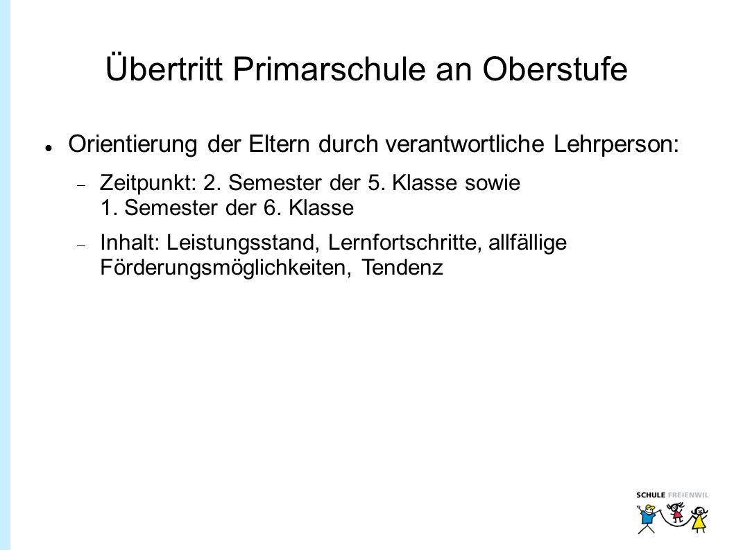 Übertritt Primarschule an Oberstufe Orientierung der Eltern durch verantwortliche Lehrperson:  Zeitpunkt: 2.