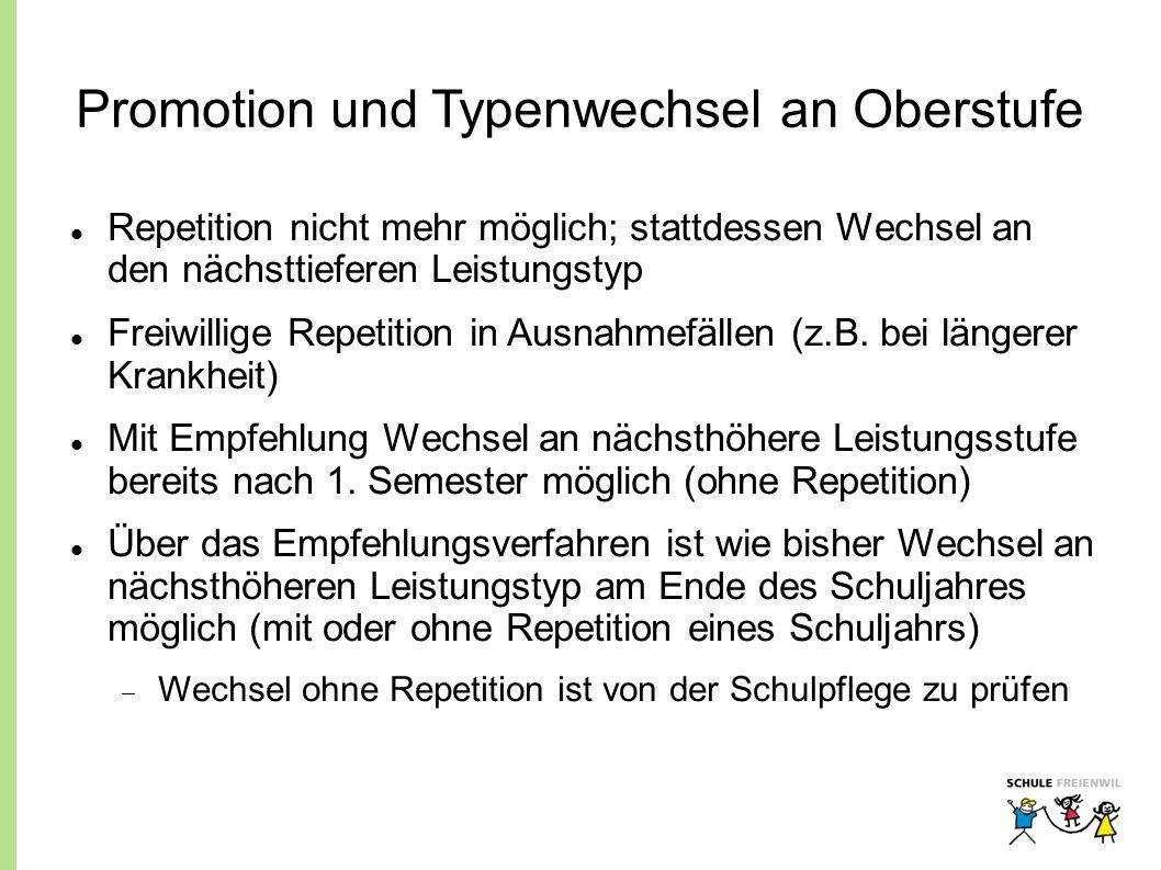 Promotion und Typenwechsel an Oberstufe Repetition nicht mehr möglich; stattdessen Wechsel an den nächsttieferen Leistungstyp Freiwillige Repetition in Ausnahmefällen (z.B.