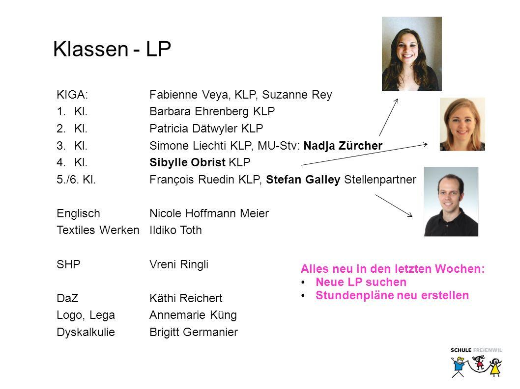 Klassen - LP KIGA: Fabienne Veya, KLP, Suzanne Rey 1.Kl.