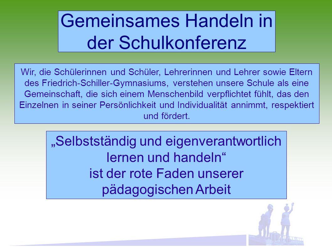 Gemeinsames Handeln in der Schulkonferenz Wir, die Schülerinnen und Schüler, Lehrerinnen und Lehrer sowie Eltern des Friedrich-Schiller-Gymnasiums, verstehen unsere Schule als eine Gemeinschaft, die sich einem Menschenbild verpflichtet fühlt, das den Einzelnen in seiner Persönlichkeit und Individualität annimmt, respektiert und fördert.