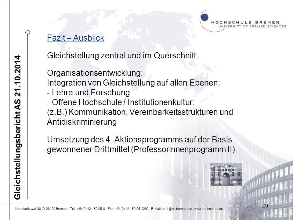 Neustadtswall 30 D-28199 Bremen Tel. +49 (0) 421 59 05-0 Fax +49 (0) 421 59 05-2292 E-Mail: info@hs-bremen.de www.hs-bremen.de Fazit – Ausblick Gleich