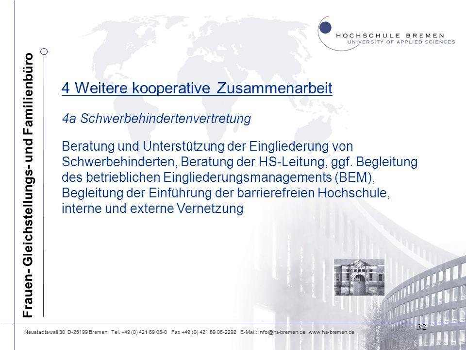 Neustadtswall 30 D-28199 Bremen Tel. +49 (0) 421 59 05-0 Fax +49 (0) 421 59 05-2292 E-Mail: info@hs-bremen.de www.hs-bremen.de 4 Weitere kooperative Z