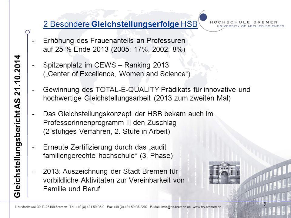 Neustadtswall 30 D-28199 Bremen Tel. +49 (0) 421 59 05-0 Fax +49 (0) 421 59 05-2292 E-Mail: info@hs-bremen.de www.hs-bremen.de 2 Besondere Gleichstell