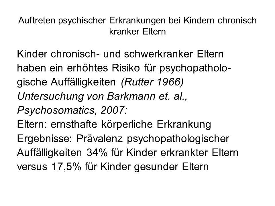 Auftreten psychischer Erkrankungen bei Kindern chronisch kranker Eltern Children of Somatically Ill Parents: EU-Studie, 2002 – 2004, 517 Erkrankte Eltern (359 Krebserkrankungen) Ergebnisse: Kinder krebskranker Eltern zeigten doppelt so oft psychische Auffälligkeiten !!.