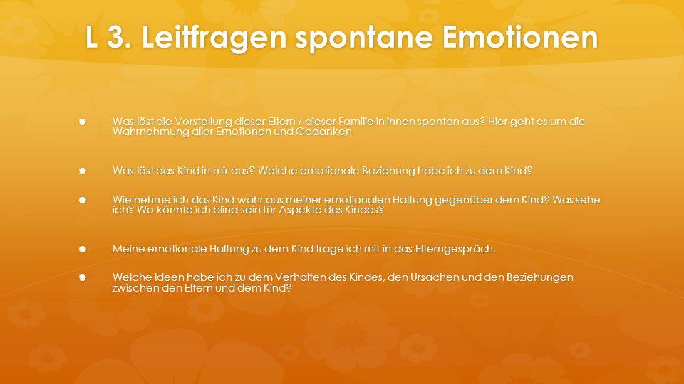 L 3. Leitfragen spontane Emotionen  Was löst die Vorstellung dieser Eltern / dieser Familie in ihnen spontan aus? Hier geht es um die Wahrnehmung all