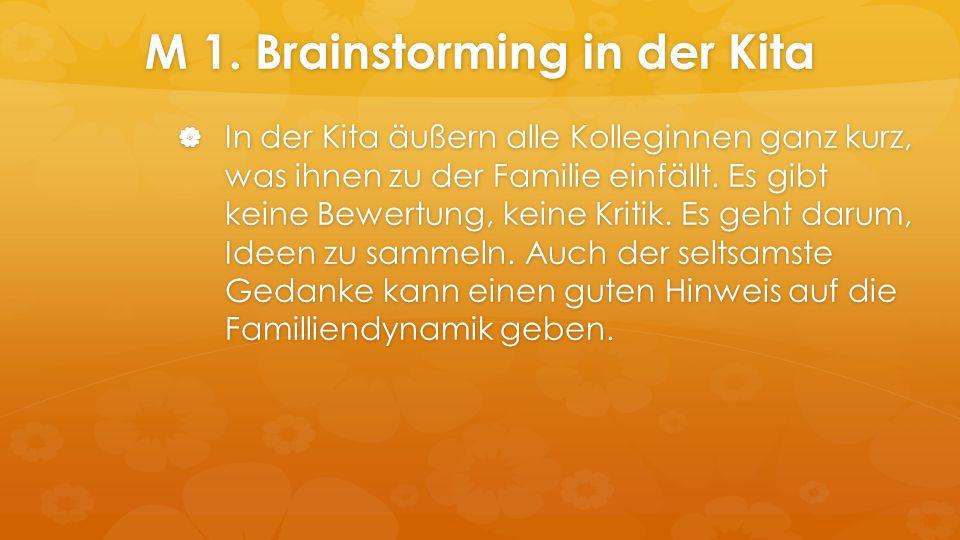 M 1. Brainstorming in der Kita  In der Kita äußern alle Kolleginnen ganz kurz, was ihnen zu der Familie einfällt. Es gibt keine Bewertung, keine Krit
