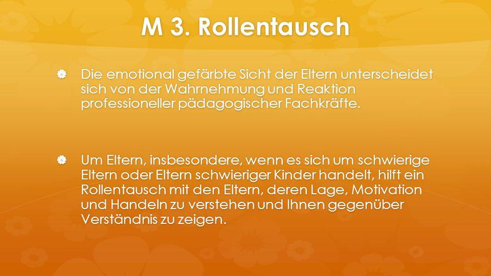 M 3. Rollentausch  Die emotional gefärbte Sicht der Eltern unterscheidet sich von der Wahrnehmung und Reaktion professioneller pädagogischer Fachkräf