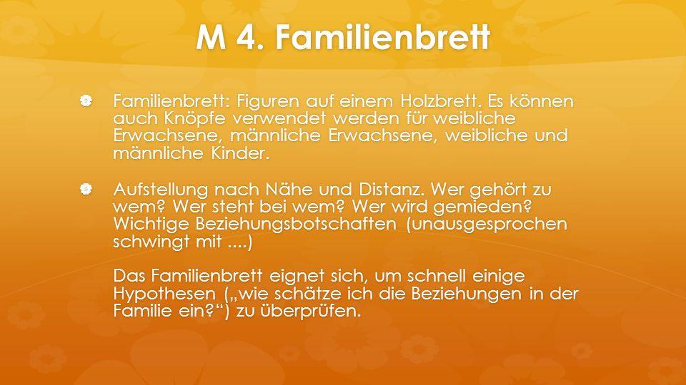 M 4. Familienbrett  Familienbrett: Figuren auf einem Holzbrett.