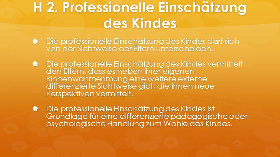 H 2. Professionelle Einschätzung des Kindes  Die professionelle Einschätzung des Kindes darf sich von der Sichtweise der Eltern unterscheiden.  Die