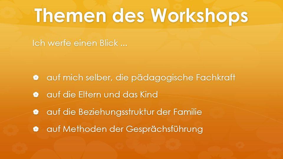 Themen des Workshops Ich werfe einen Blick...