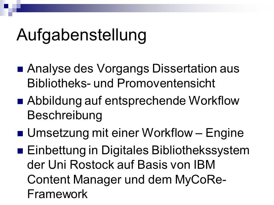 Aufgabenstellung Analyse des Vorgangs Dissertation aus Bibliotheks- und Promoventensicht Abbildung auf entsprechende Workflow Beschreibung Umsetzung mit einer Workflow – Engine Einbettung in Digitales Bibliothekssystem der Uni Rostock auf Basis von IBM Content Manager und dem MyCoRe- Framework