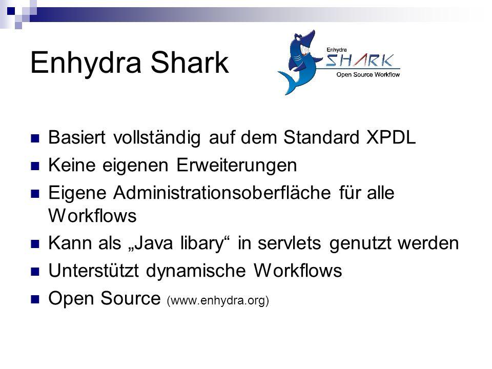 """Enhydra Shark Basiert vollständig auf dem Standard XPDL Keine eigenen Erweiterungen Eigene Administrationsoberfläche für alle Workflows Kann als """"Java"""