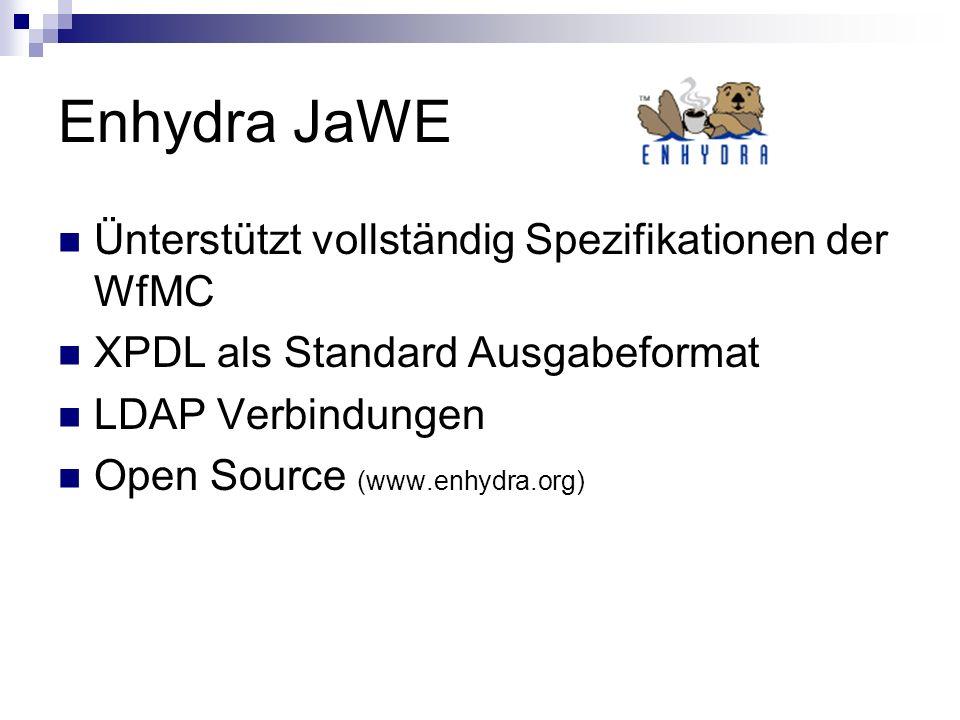 Enhydra JaWE Ünterstützt vollständig Spezifikationen der WfMC XPDL als Standard Ausgabeformat LDAP Verbindungen Open Source (www.enhydra.org)
