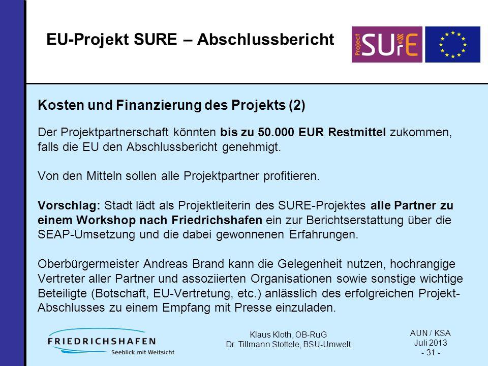 Kosten und Finanzierung des Projekts (2) Der Projektpartnerschaft könnten bis zu 50.000 EUR Restmittel zukommen, falls die EU den Abschlussbericht genehmigt.
