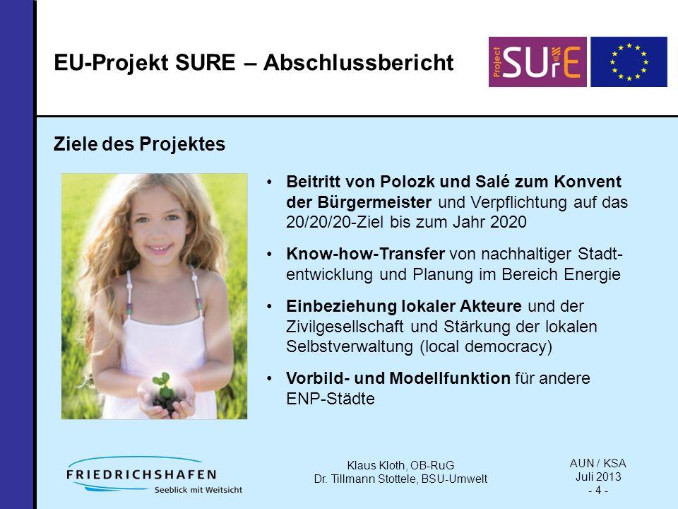 EU-Projekt SURE – Abschlussbericht Ziele des Projektes Beitritt von Polozk und Salé zum Konvent der Bürgermeister und Verpflichtung auf das 20/20/20-Ziel bis zum Jahr 2020 Know-how-Transfer von nachhaltiger Stadt- entwicklung und Planung im Bereich Energie Einbeziehung lokaler Akteure und der Zivilgesellschaft und Stärkung der lokalen Selbstverwaltung (local democracy) Vorbild- und Modellfunktion für andere ENP-Städte AUN / KSA Juli 2013 - 4 - Klaus Kloth, OB-RuG Dr.