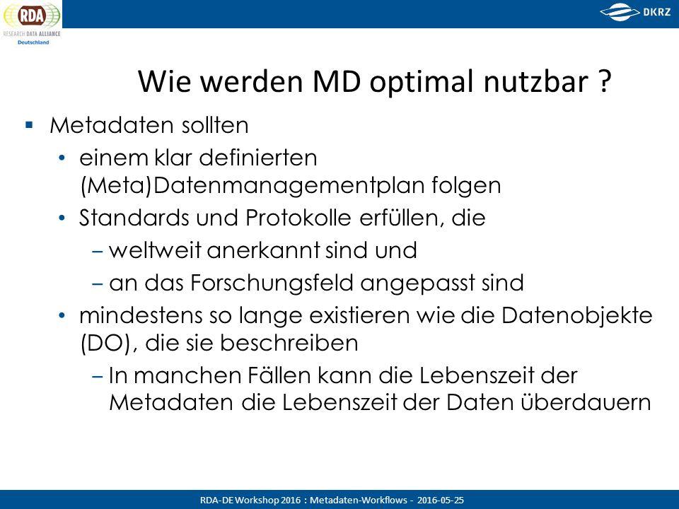 RDA-DE Workshop 2016 : Metadaten-Workflows - 2016-05-25 Data Provider Service Provider Der MD 'Lebenszyklus' als Workflow 1.MD Generation 2.b MD Harvesting 2.c.