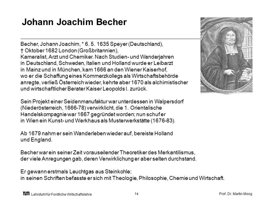 Prof. Dr. Martin Moog14 Lehrstuhl für Forstliche Wirtschaftslehre Becher, Johann Joachim, * 6.