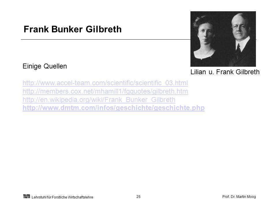 Prof. Dr. Martin Moog25 Lehrstuhl für Forstliche Wirtschaftslehre Frank Bunker Gilbreth Lilian u.