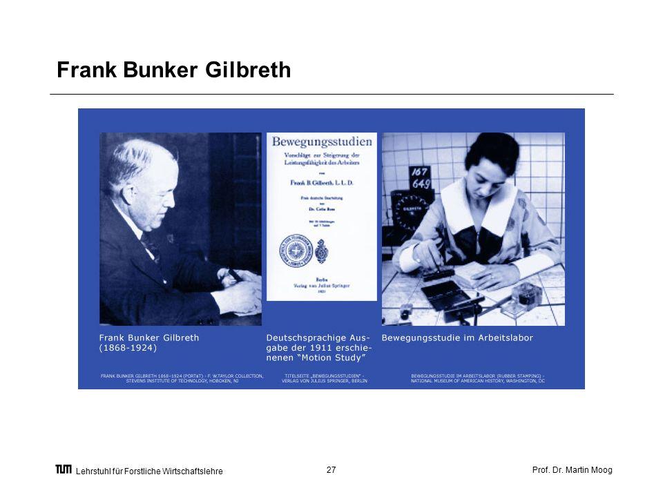 Prof. Dr. Martin Moog27 Lehrstuhl für Forstliche Wirtschaftslehre Frank Bunker Gilbreth
