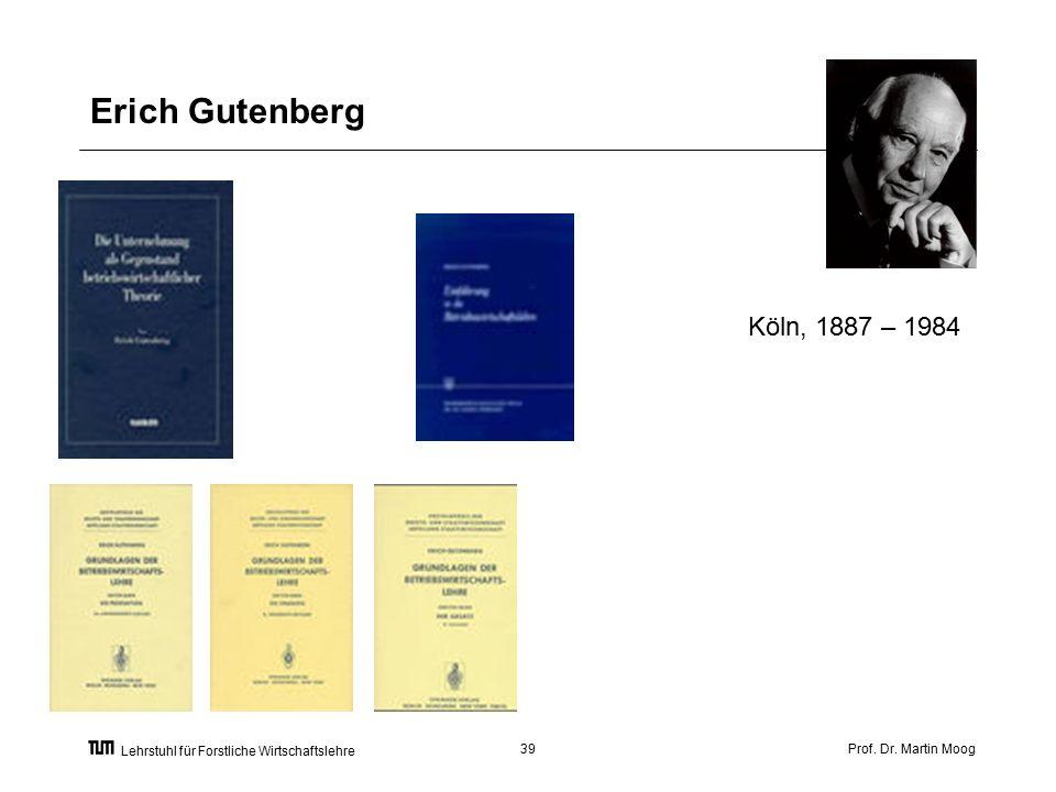 Prof. Dr. Martin Moog39 Lehrstuhl für Forstliche Wirtschaftslehre Erich Gutenberg Köln, 1887 – 1984