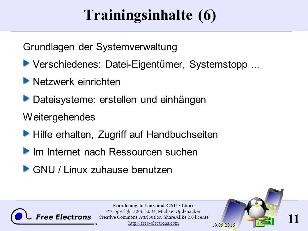 11 Einführung in Unix und GNU / Linux © Copyright 2006-2004, Michael Opdenacker Creative Commons Attribution-ShareAlike 2.0 license http://free-electr